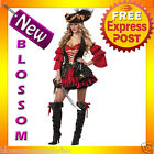 C641 Spanish Pirate Scarlett Captain Wench Swashbuckler Halloween Costume Outfit