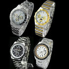 Top New Mens Luxury Silver Stainless Steel Black Quartz Watch Wristwatch Watches