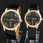 Black Mens Womens Couple Lover Leatheroid Quartz Movement Romantic Wrist Watches