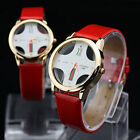 Red Mens Womens Couple Lover Leatheroid Quartz Movement Romantic Wrist Watches