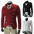 Mens Stylish Top Design Double Breasted Short Military Jackets Fashion Coat X311