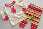 GYMBOREE GYMMIES Girl's Ice Skating Heart Monster Striped Pajamas Sizes 6M-18M