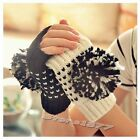 Autumn/Winter Warm Lovely Ornament Ball Double Color Half Fingerless Gloves Q077