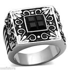 Mens Jet Black Square Stones Silver Stainless Steel Ring