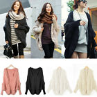 Womens plus Size Knitted Cardigan Batwing sleeve Top Dress Coat Loose Sweater