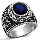 Mens Oval Shape Montana Blue Stone Silver Stainless Steel Tattoo Design Ring