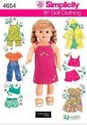 """New Simplicity Sewing Pattern 18 inch Doll Clothes Outfit Fits American Girl 18"""""""