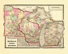 Old State Map - Michigan, Minnesota , Wisconsin - Baltimore 1873 - 23 x 28.98