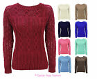 LADIES CABLE KNITTED CREW NECK LONG SLEEVE WOMENS JUMPER SWEATER SIZE 8-14