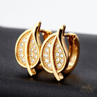 Women Huggie Yellow Gold Crystal hoops earrings 093