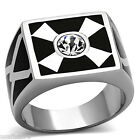 Mens Crossing Crystal Stones Silver Stainless Steel Ring
