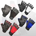 NEW WEIGHT LIFTING GYM HALF PADDED LEATHER GLOVES FITNESS TRAINING BODY BUILDING