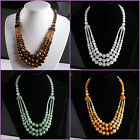 4-12mm White marble aventurine golden tiger eye round beaded necklace 18.5""