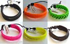 BLACK+NEON GREEN+YELLOW+ORANGE+PINK+BROWN BRAIDED ADJUSTABLE LEATHER BRACELET