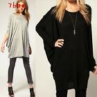Womens Batwing Cotton Casual Oversized Loose Long Tee T-Shirt Shirt Blouse Tops