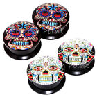 Value Pack 2 PAIRS Mexican Sugar Skull Acrylic Screw Fit Flesh Tunnels Ear Plugs