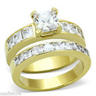 1.4ct Princess Cut Clear CZ Gold EP Stainless Steel Wedding Engagement Ring Set