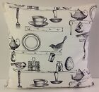 FRENCH SHABBY CHIC-STYLE GRAPHITE GREY SINGLE CUSHION COVERS BIRDS TEA POT