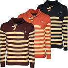 Mens Jumper Sweater Soulstar Striped Shawl Neck Knitted Sailor Pullover Top