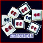 XCLUSIVE ROMANTIC RUBIES & PRECIOUS SAPPHIRE PAIR FOR EAR RINGS~FINE CHECKER CUT