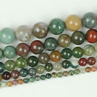 "Natural Indian Agate Stone Round Loose Gemstone Beads 15.5"" 4 6 8 10 12mm"