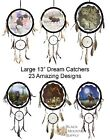 "Dream Catchers, Large With Wood Frame, Leather, Beads & Feathers, 13"" Round"