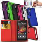 Case for Sony Xperia M, Leather Wallet Flip + FREE Stylus Pen & Screen Protector