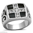 Mens Crystal Cross Black Top Silver Stainless Steel Ring