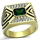 Mens Emerald Green & Clear Crystal Pave Gold Plated Stainless Steel Ring