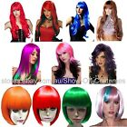 LADIES COLOURED COSPLAY COSTUME WIGS STRAIGHT WAVY CURLY LONG SHORT BOB STYLES