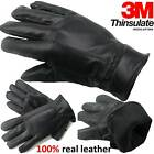 MENS LEATHER GLOVES THINSULATE SOFT FEEL FULLY LINED WINTER WARM OUTDOOR WALKING