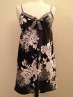 NEW Morgan Taylor Women's Satin Chemise Babydoll 33202 Black & White   XS