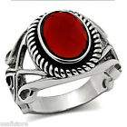 Mens Red Stone Wizard Silver Stainless Steel Ring