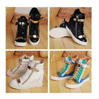 NEW Womens Heels Sneaker Lace Up Shoes Velcro High Top Ankle Wedge Boots US4-9.5