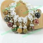Rhineston & 8mm Nature Round Picasso Charms Beads Dangle Fit European Bracelet
