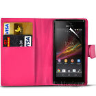 Case for Sony Xperia M, Leather Wallet Flip + FREE Screen Protector (7 colours)