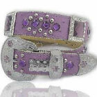 BHW LEATHER PURPLE WESTERN RHINESTONE COWGIRL BELT MEDIUM LARGE XL 3744