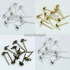 4,6,8mm 500pcs Metal Half Ball Stud Earring Posts Finding Silver/Gold/Bronze Plt