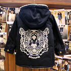 1869 Boutique Navy Blue Tiger Head Berber Fleece Winter Coat Very Warm & Trendy