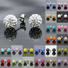 Hot Sale Charm Full Glass Crystal Ball Ear Stud Earrings 10mm Rhinestone