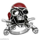 Mens Pirate Skull And Guns Red & Silver Stainless Steel Ring