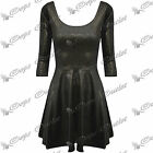 Ladies Velvet Velour Glitter 3/4 Sleeves Flared Franki Womens Skater Dress Top