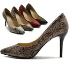 ollio Womens Shoes D'Orsay Snakeskin Pointed Toe High Heel Multi Colored Pumps