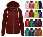 NEW WOMENS LADIES PLAIN ZIP HOODIE SWEATSHIRT FLEECE HOODED JACKET SIZES 6-20