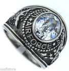 Clear Stone US Air Force Military Silver Stainless Steel Mens Ring
