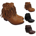Ladies Flat Heel Fringe Ankle Boots Womens Tassles Studded Shoes Uk size 3-8 New