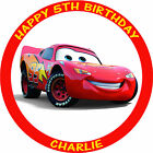 "CARS LIGHTNING MCQUEEN 7.5"" PERSONALISED EDIBLE BIRTHDAY CAKE TOPPER"
