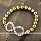 Hot Gold Fashion Infinite Infinity Faux Pearl Crystal Friendship Beads Bracelet