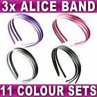 Set of 3 Plain Satin Alice bands headband fabric hair band womens girls