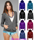 QUALITY LADIES ZIP UP HOODIE PLAIN SWEATSHIRT WOMENS COAT JACKET SIZE 8-20